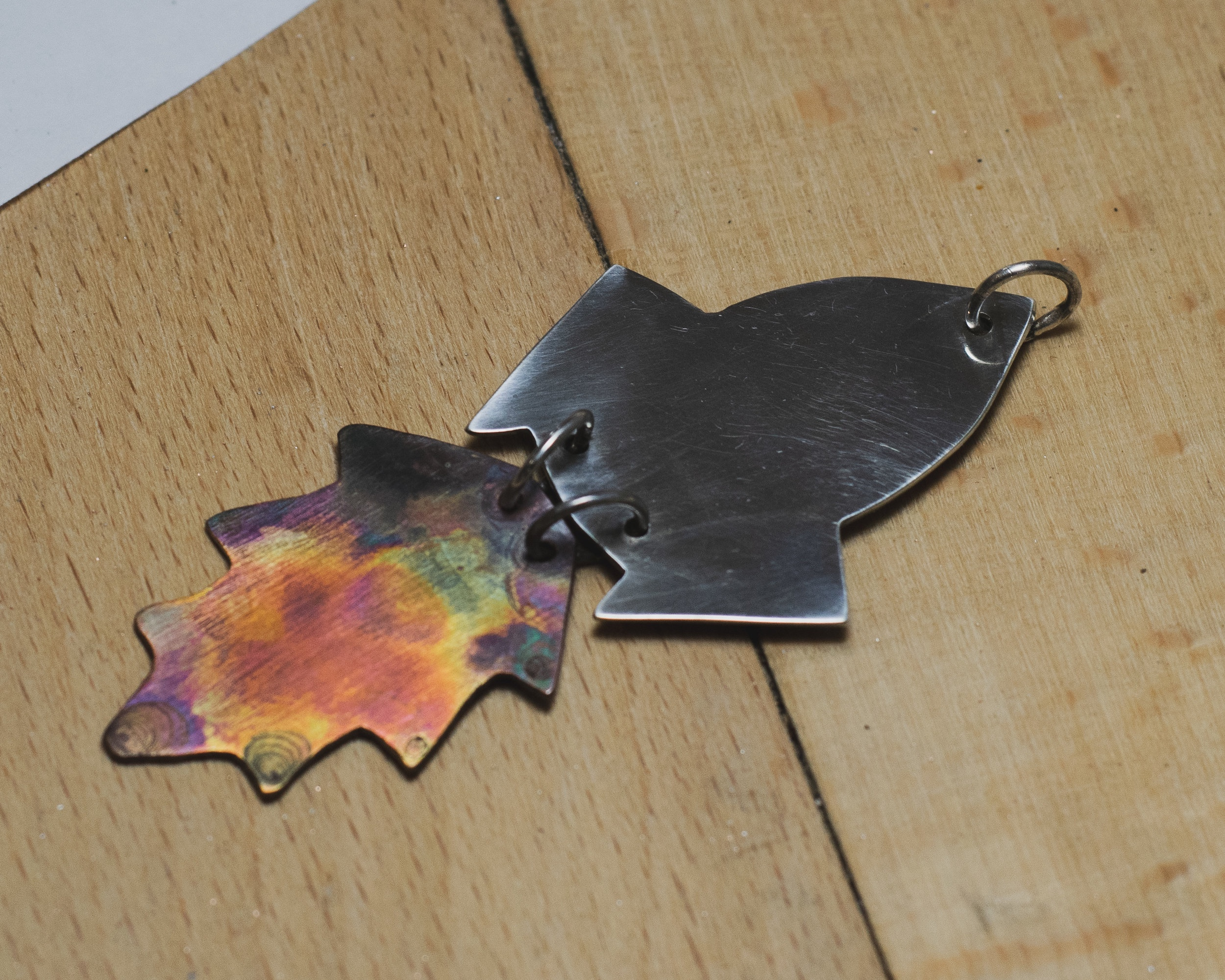 Week 3 - Soldering and finishes - During this session we will be trying out a variety of textures and finishes using different workshop tools including the rolling mill, hammers and patinas such as chemical baths and even flame-painting! Once you're happy with the textures you have chosen you will apply them to your sawn-out pieces and make your jewellery.