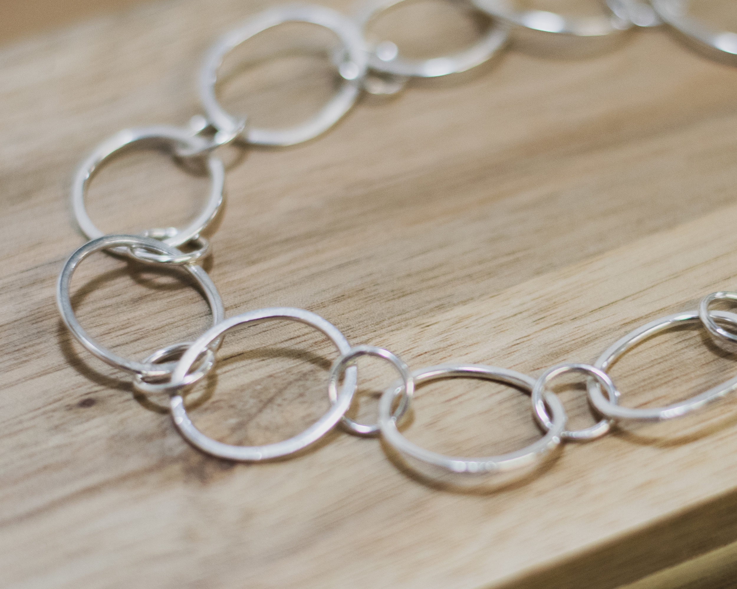 Week 5 - Chain making - This week you will begin by learning how to make jump rings of various sizes. This is a really instrumental skill to have as a jeweller as they can enhance your work in so many ways. During this session you will also get to grips with connecting the jump rings to make beautiful patterns from chain, and in turn exploring pattern and size to make sections of chain into your very own pieces of jewellery.