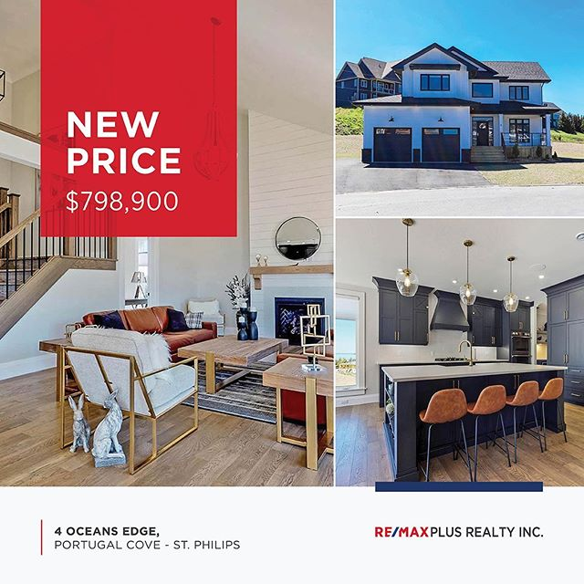 ⠀⠀⠀⠀⠀⠀⠀⠀⠀ NEW PRICE! Now $798,900 ⠀⠀⠀⠀⠀⠀⠀⠀⠀ 4 Oceans Edge, Portugal Cove - St. Philips MLS ®: 1198165 ⠀⠀⠀⠀⠀⠀⠀⠀⠀ This stunning home in Ocean`s Edge Estates is a must see! Incredible view of the ocean, intelligent building plan, a beautiful kitchen and so much more. ⠀⠀⠀⠀⠀⠀⠀⠀⠀ Call Louise Maddigan at (709) 765-5588. ⠀⠀⠀⠀⠀⠀⠀⠀⠀ #newprice #nlrealestate #luxuryhome #oceanview #homeforsale #realestate #remax #broker #executivehome