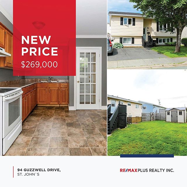 ⠀⠀⠀⠀⠀⠀⠀⠀⠀ NEW PRICE! Now $269,000 ⠀⠀⠀⠀⠀⠀⠀⠀⠀ 94 Guzzwell Drive, St. John`s MLS ®: 1200284 ⠀⠀⠀⠀⠀⠀⠀⠀⠀ A great starter home or an income property! Conveniently located close to CNA and MUN, this home has a spacious 3 bedroom basement apartment that is currently rented. ⠀⠀⠀⠀⠀⠀⠀⠀⠀ Call Louise Maddigan at 765-5588 today! ⠀⠀⠀⠀⠀⠀⠀⠀⠀ Visit us at remaxplusrealty.ca for more details. ⠀⠀⠀⠀⠀⠀⠀⠀⠀ #newprice #nlrealestate #homeforsale #2apartment #incomeproperty #nlhomes #basementapartment #realestate #remax