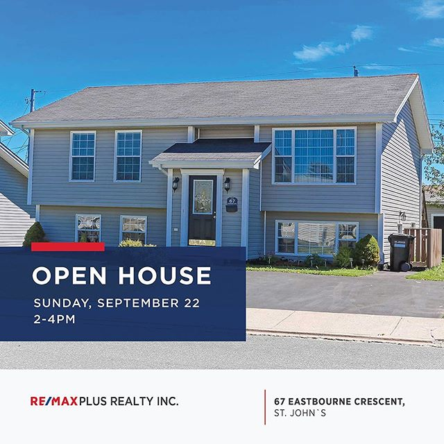 Open House! Today from 2-4pm ⠀⠀⠀⠀⠀⠀⠀⠀⠀ Join Louise Maddigan at 67 Eastbourne Crescent today to view this lovely home! ⠀⠀⠀⠀⠀⠀⠀⠀⠀ #openhouse #nlrealestate #yyt #homeforsale #openhousenl #stjohns #buyingahouse #remax #realestate
