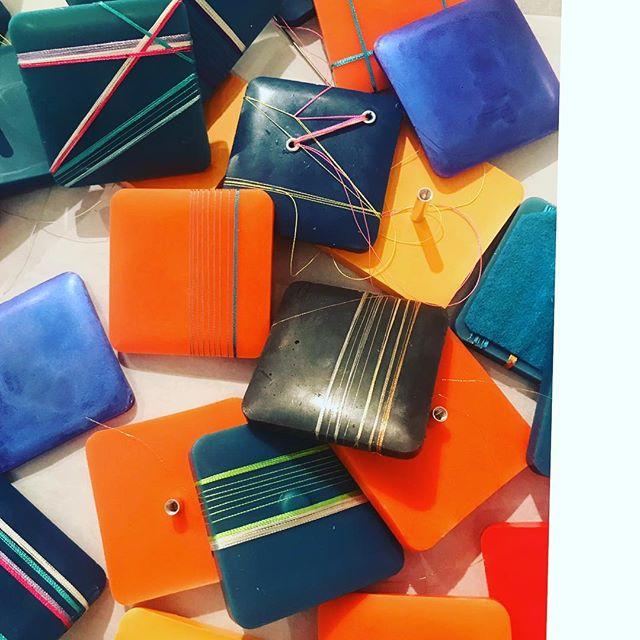 Experimentation pile...where the test subjects go to mingle. Encaustic, embroidery thread, felt, aluminum screw posts. . . . .#artstudio #artprocess #wip #encaustic #lineart #artistsoninstagram #inprogress #artoftheday #contemporaryart #contemporaryartist #ashevilleartist #color #somanyoptions