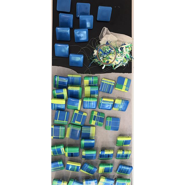 Before & after, with still life on the process. This piece will have 65 individually made components, and is soon to be assembled and on display at @contemporaneoasheville, as part of my current show 'Composing Lines'. . . . . #wip #artprocess #contemporaryart #lineart #mixedmedia #encaustic #encaustictiles #artistsoninstagram #artcurator #ashevilleartist #downtownasheville #downtownashevilleartdistrict #abstractart #mixedmediaartist #artoftheday #studiopractice #artprocess #interiordesign #threads