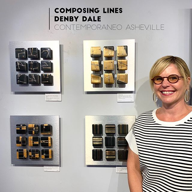 Many thanks to my friend @dianestravelheart for taking some terrific shots at the opening of my show 'Composing Lines' last week- I appreciate all who came out for it! The show runs through 9/30 @contemporaneoasheville . . . . #contemporaryart #ashevilleartist #encausticart #lineart #grid #abstractart #artistsoninstagram #artopening #artforsale #contemporaryartgallery #artcurator #color #contemporaryartist #mixedmedia #thread #threadasline