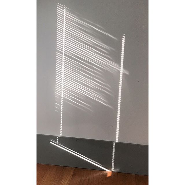 Discovering a vanishing, pop up art display in the house. Thank you, blinds trapped inside the glass, for collaborating with the morning light on this exhibit... . . . . . #lineart #reflection #contemporaryartist #lightning #vanishingart #contemporaryart #artinspiration #ashevilleartist #minimalism #lineanddot