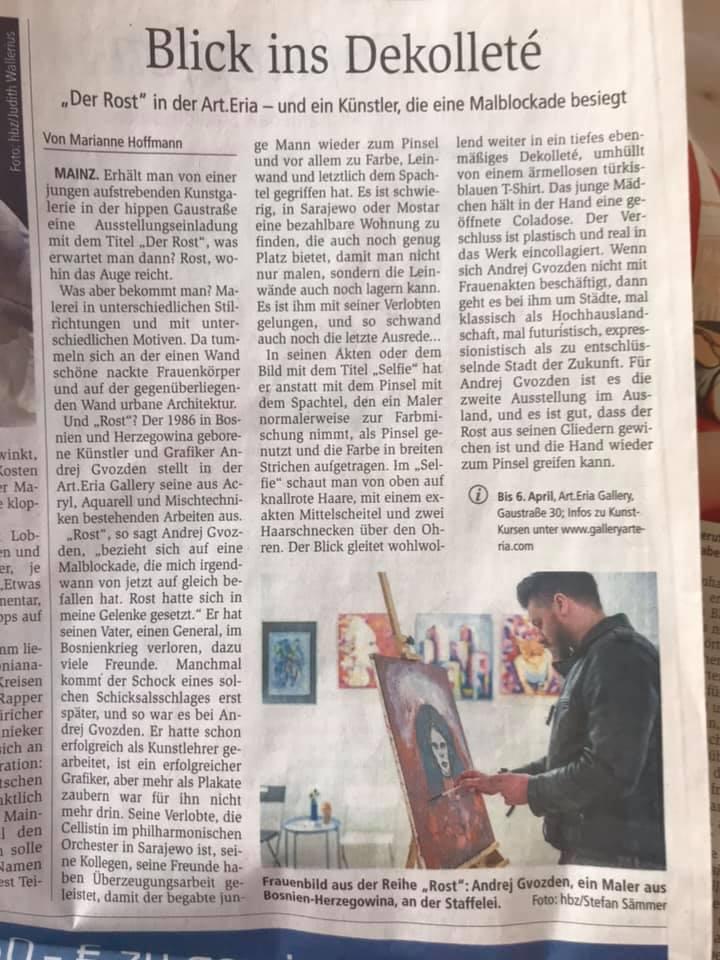"""ALLGEMEINE ZEITUNG - About """"DER ROST"""" Andrej Gvozden / The Kult Choban Artworks exhibition"""