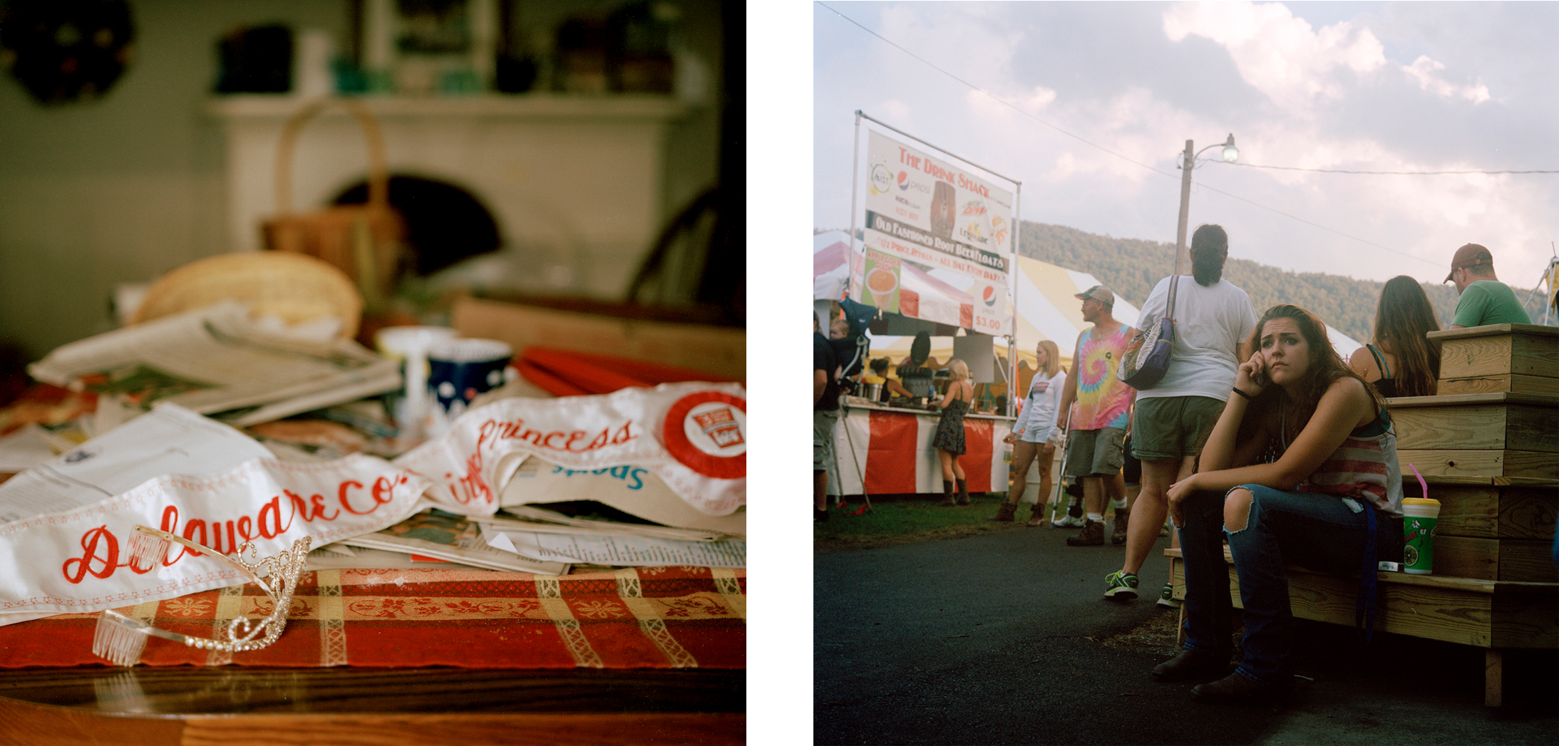 L: Miquela Hanselman's Delaware County Dairy Princess sash on her family's dining room table. R: The Delaware County Fair.