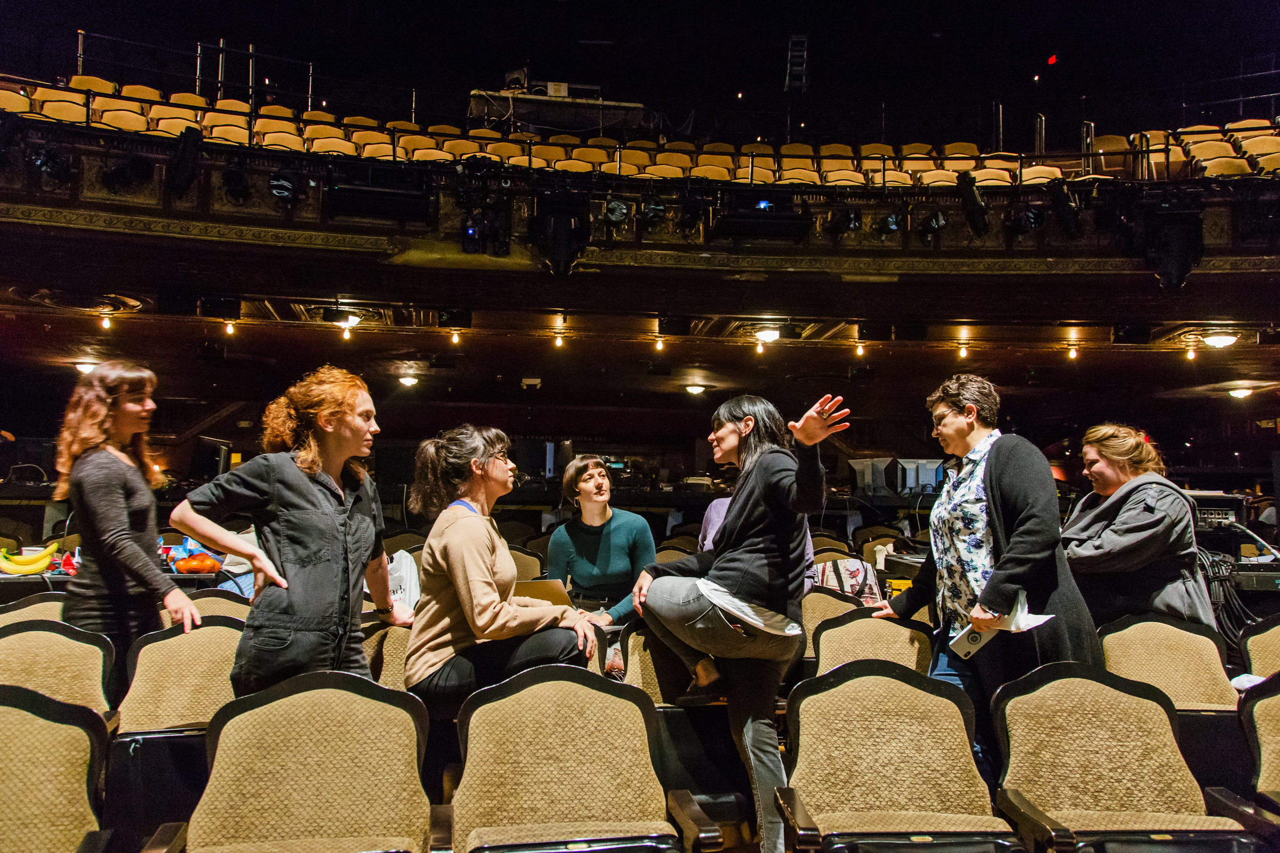 "The creative team behind ""The Lifespan of a Fact,"" from left to right, Katherine Freer, Lucy MacKinnon, Jen Schriever, Palmer Hefferan, Leigh Silverman, Martha Donaldson, and Rachael Geier in Studio 54 Theatre. For The Interval NY."