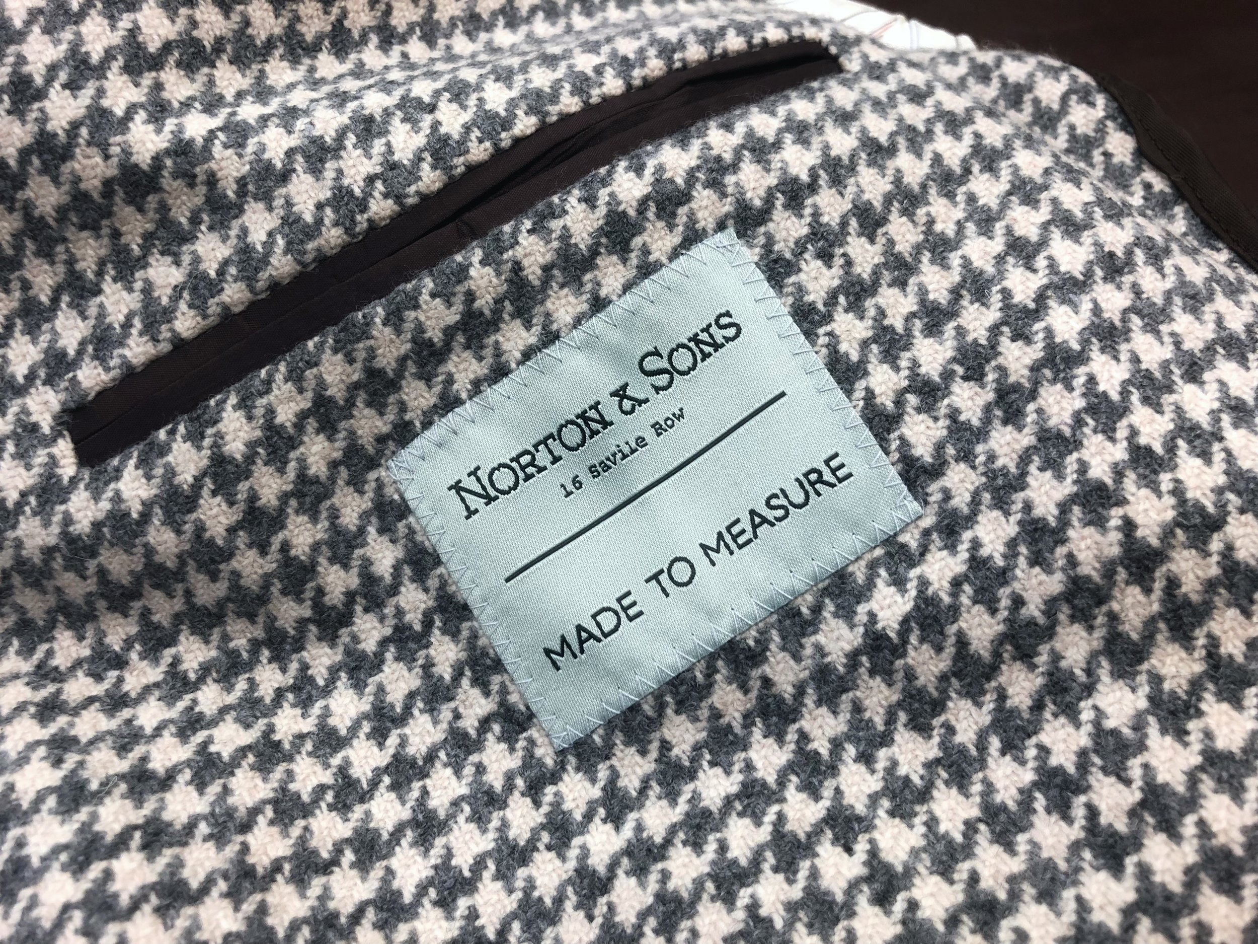 Sneak peek of the new Norton & Sons   Made to Measure label inside it's first home.