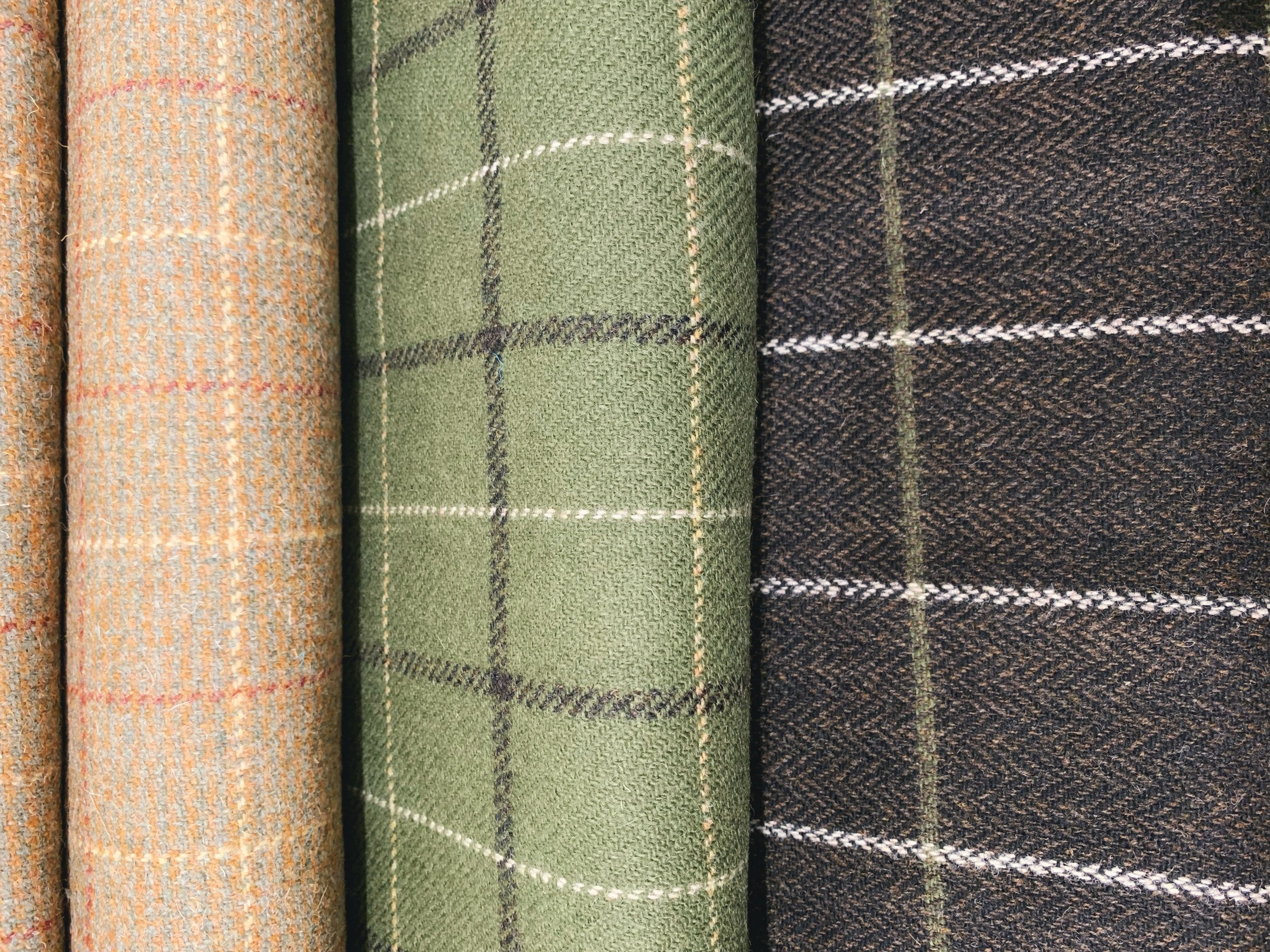 A selection of Windowpane Check tweeds from Islay Woollen Mill