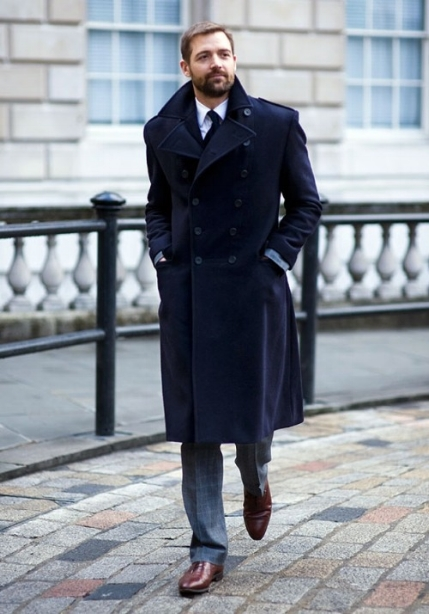 Patrick Grant wearing an E.Tautz British Warm in Navy Woollen Melton, in a classic Double Breasted style.