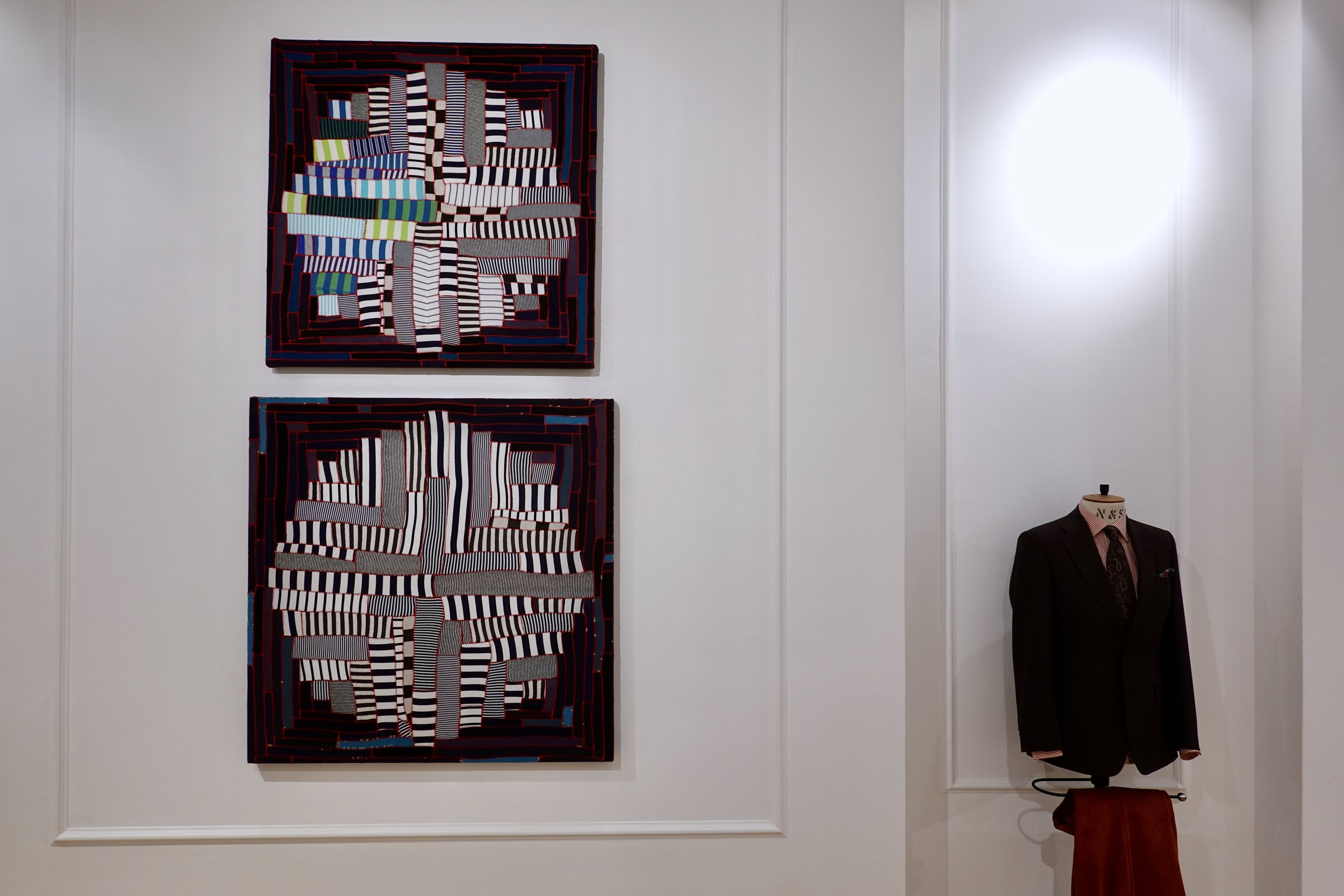 """Install shot of A Promise To Be Good 36"""" x 36"""" (Top) and Land Grab 40"""" x 40"""" ( Bottom)"""