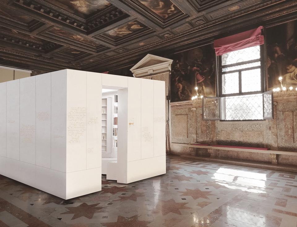 The proposed installation in the Ateneo Veneto © Edmund de Waal. Courtesy the artist