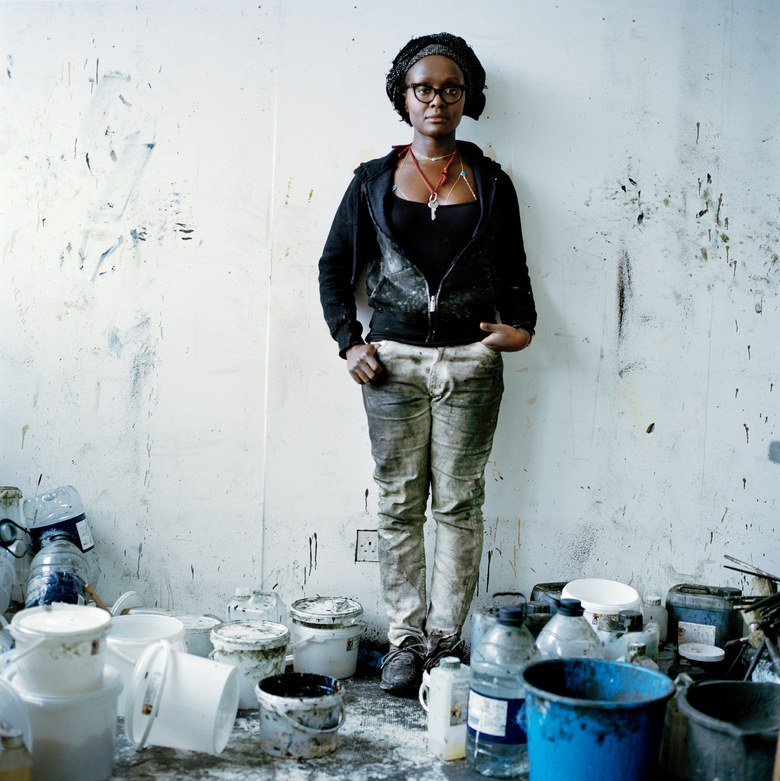 Lynette Yiadom-Boakye Photographed by Anton Corbijn, Vogue, April 2017, in her studio.    Directions