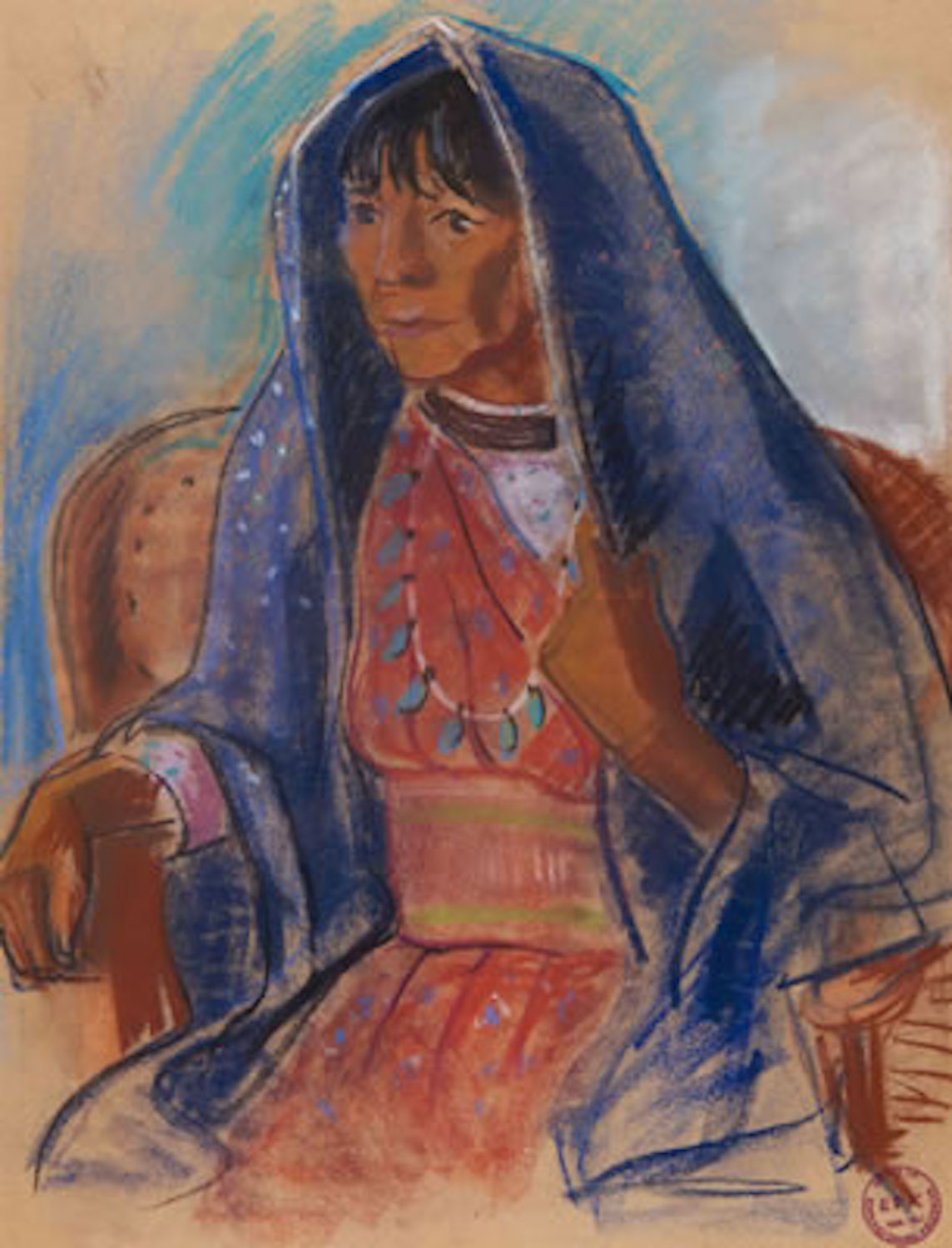 Woman with Blue Shawl, 24 x 18.5, pastel on paper