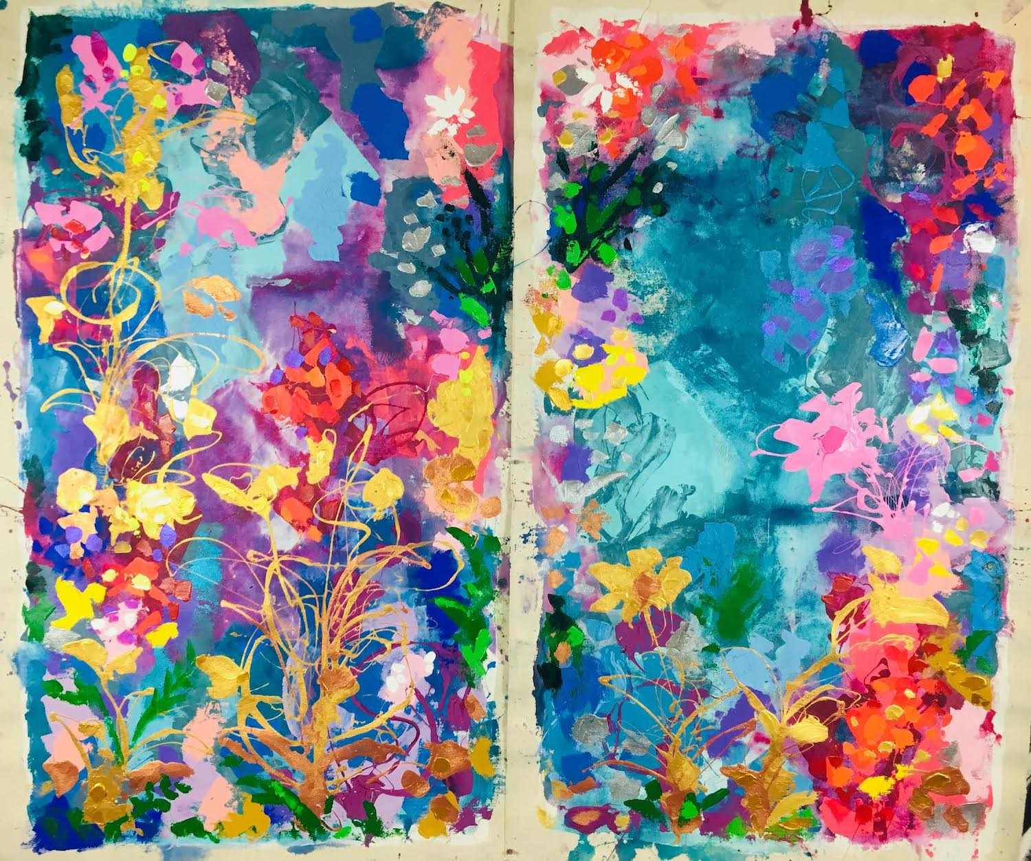 *sold* Pushing Past the Boulders (diptych), 65 x 35 each, acrylic on canvas