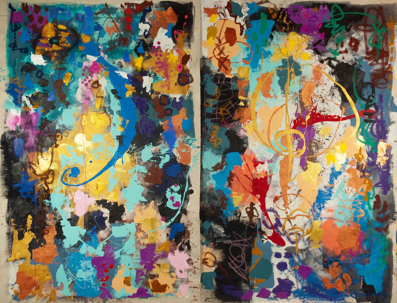 Harmony (diptych), 65 x 35 each, acrylic on canvas