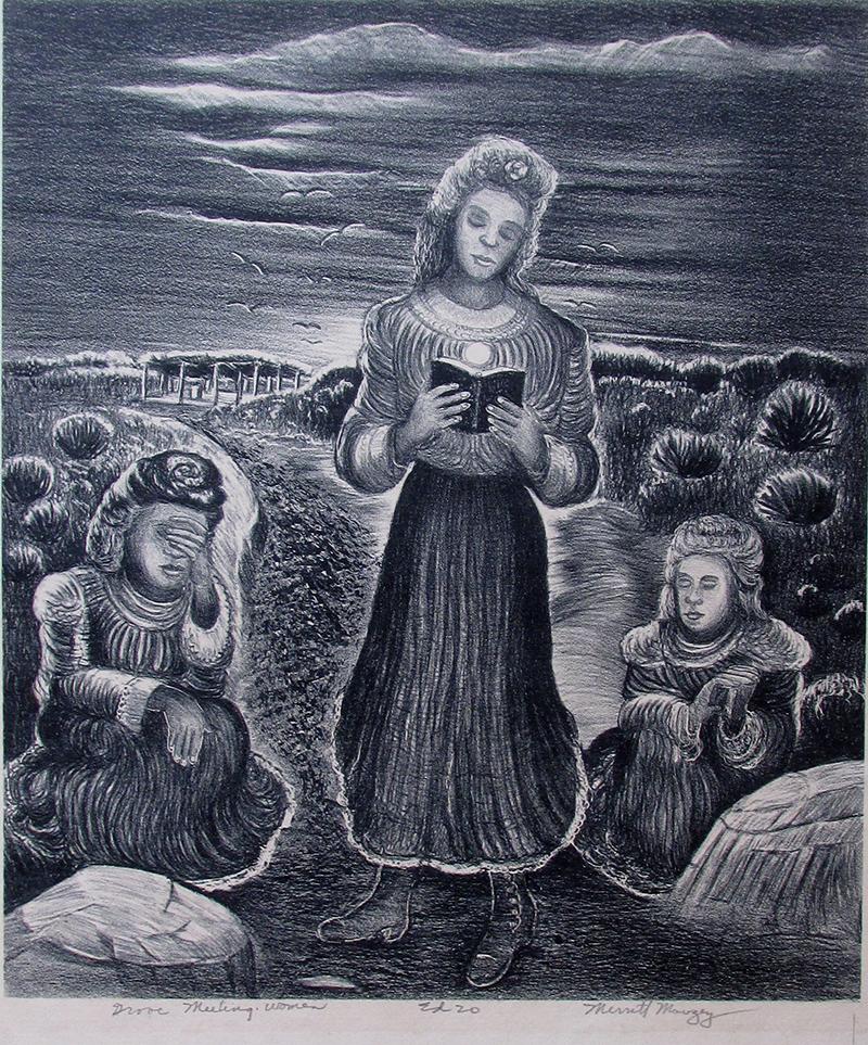 Grove Meeting Women, 11.25 x 9.5, lithograph, edition 20