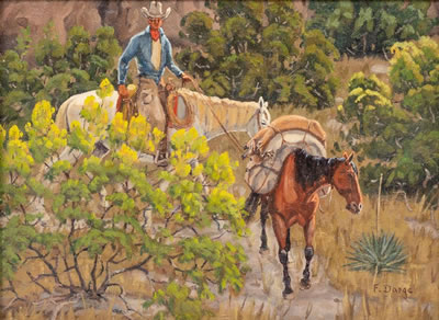 Packhorse and Rider, 9 x 12, oil on canvasboard