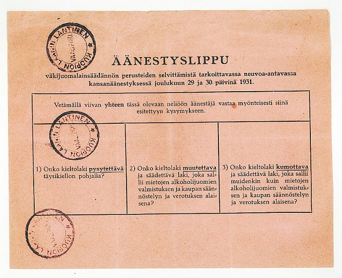 Kieltolain kohtalosta äänestettiin joulukuussa 1931. Kuva Työväenmuseo Werstas.