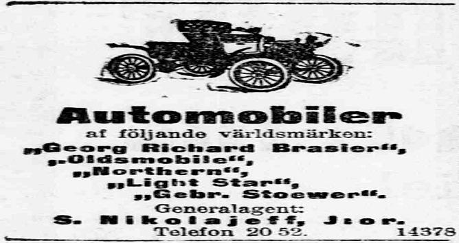 S. Nikolajeff Jr:n kiertoilmoitus Hufvudstadsbladetissa joulukuussa 1905.