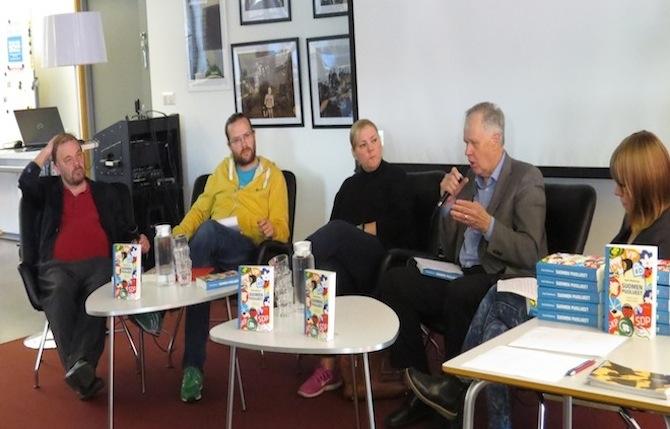 Puhujat vasemmalta oikealle: Rauli Mickelsson, Joonas Pekkonen, Taru Tujunen, Seppo Kääriäinen ja Hanna Kuusela.
