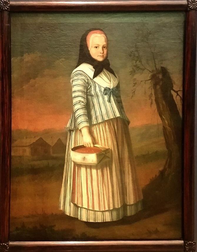 """Nils Schillmarkin maalaus """"Mansikkatyttö"""", 1792."""