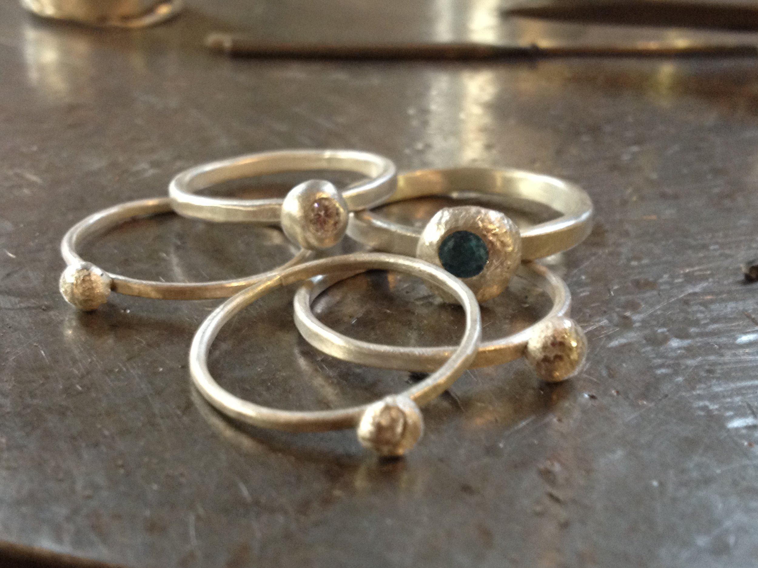 Completed stackable pebble rings