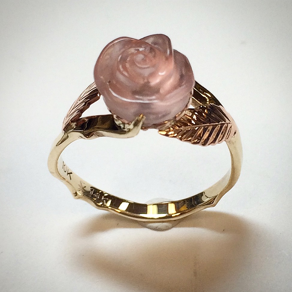 Carved rose quartz, 14k rose gold, 10k yellow gold