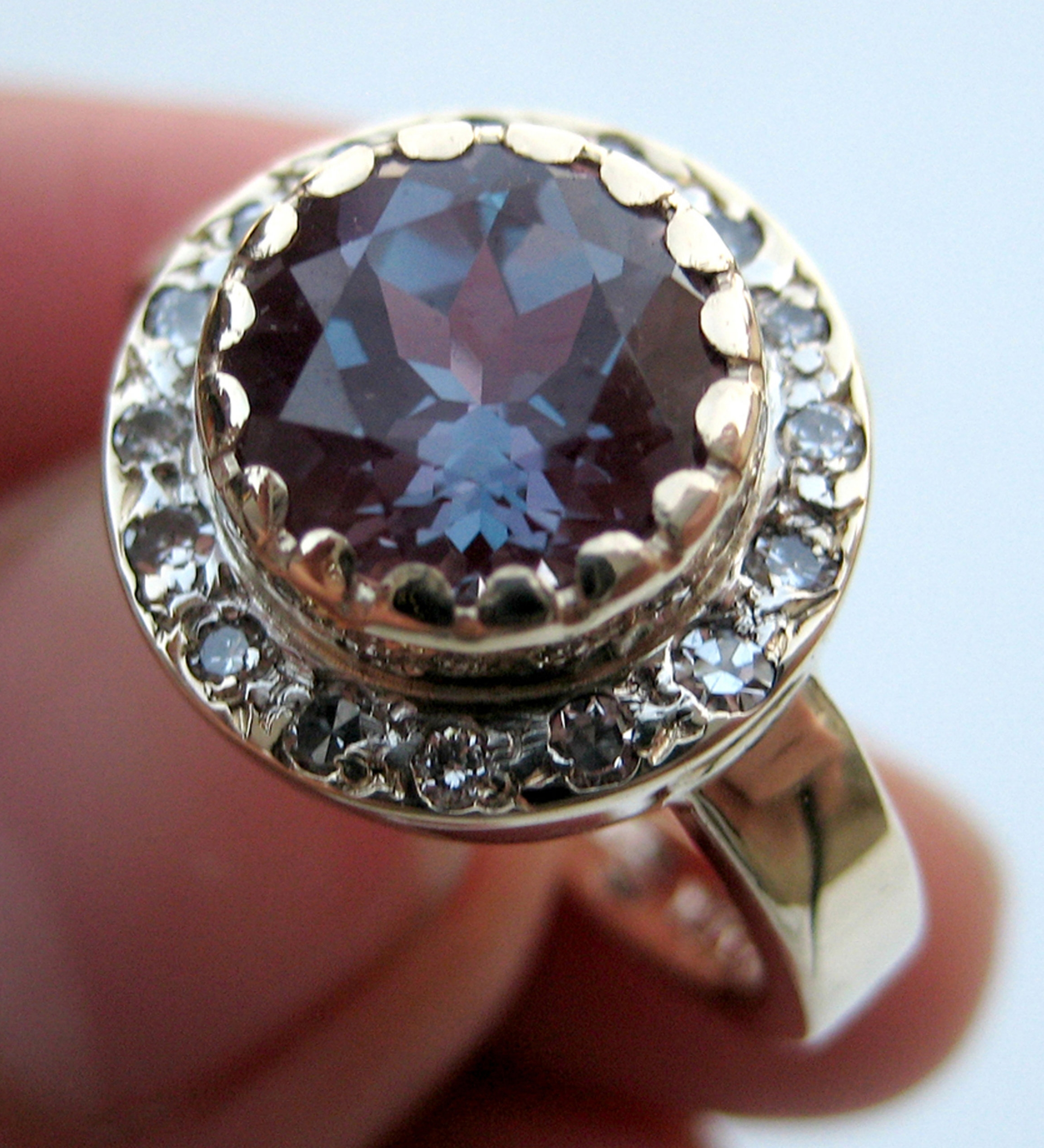 Lab grown Alexandrite, diamond, 14k yellow gold