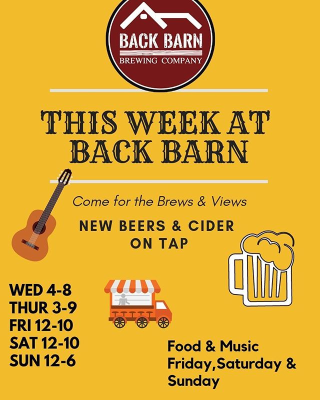 🚨 Come see us this week 🚨  Open today 4-8 & tomorrow 3-9  Friday noon till 10 with The Mac Factor providing food from 4pm. Music by The Dolan Brothers 5-730  Saturday Sammy's Country Wagon, LLC will he providing grub from 2pm on and Summer of Doug playing from 5-8  Sunday our friends at Graffoodi will be back with Hoot Owl Moon providing the tunes from 2-430.  Family's welcome. Dogs too 😃 🐶 🍻  #beer #brewery #craftbeer #craftbrewery #drinklocal