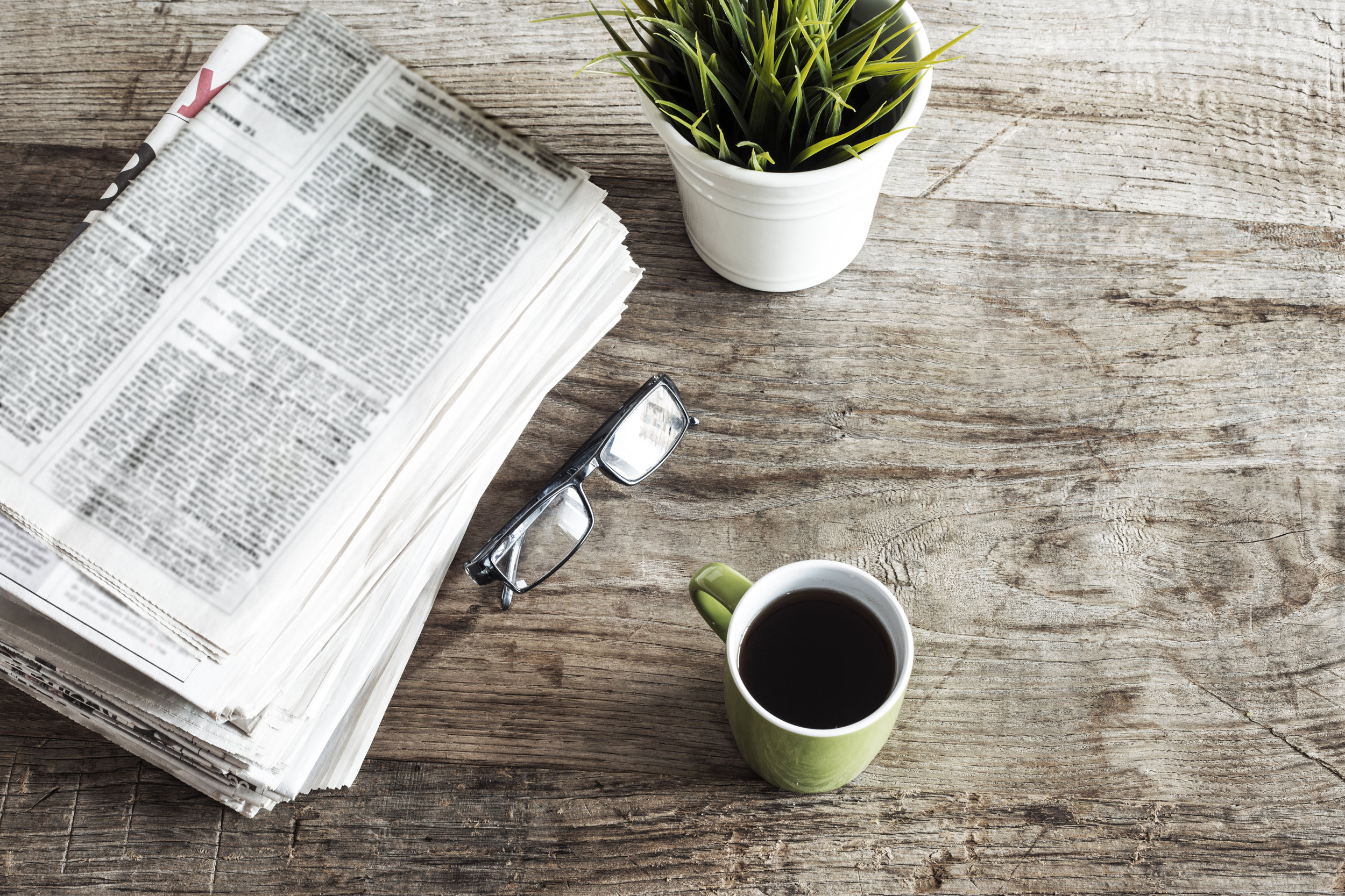 Coffee and a newspaper