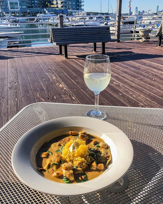 Saturday Night Specials at Siros ✨ Harvest ravioli served over spaghetti squash in a maple cream sauce 🤩  Grilled Swordfish with pineapple salsa, risotto and roasted brussel sprouts 😋 . . . Patio is open! Kitchen until 10PM