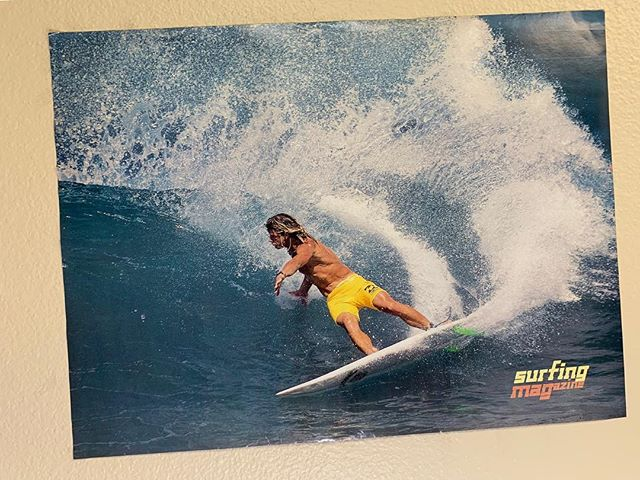 "I shaped this board for Mark the winter of 90/91 and Surfing Mag included this iconic photo as a pull out poster. The caption impart read read ""...Mark Occhilupo gouging a roundhouse cutback as deep as humanly possible, yet under complete, relaxed control. 📷Kimiro Kondo  #markocchilupo #kimirokondo #surfingmag #tbt #dick_brewer"