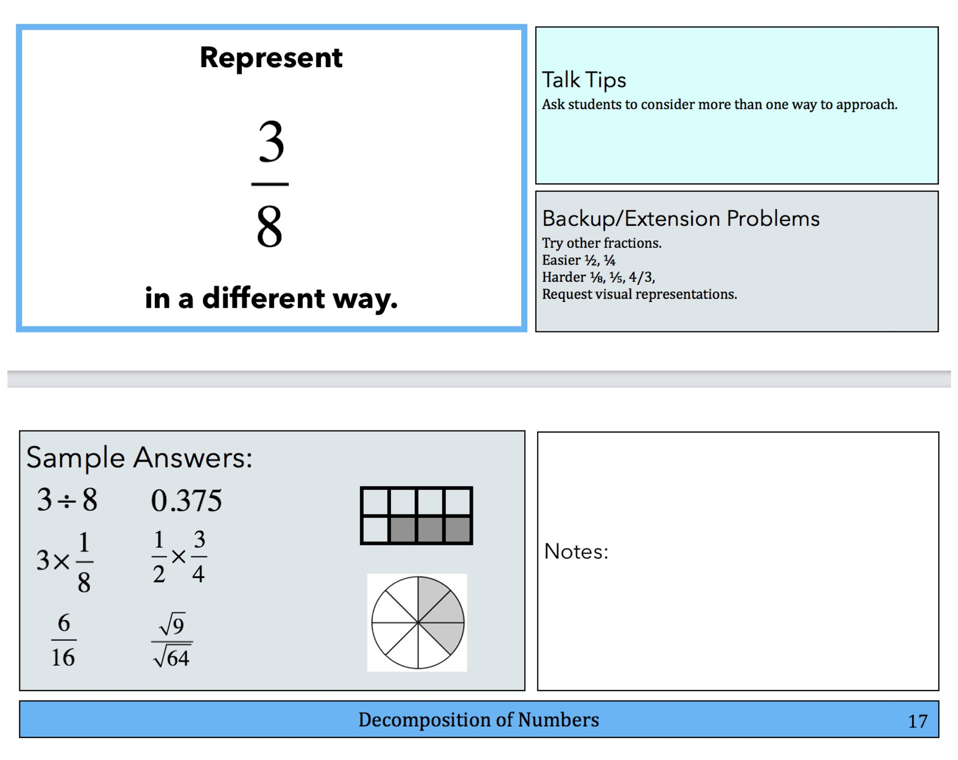 Sample pages from the Number Sense book. Notice the Talk Tips, Sample Student Responses. Backup and Extension problems help you differentiate to keep the conversation going.