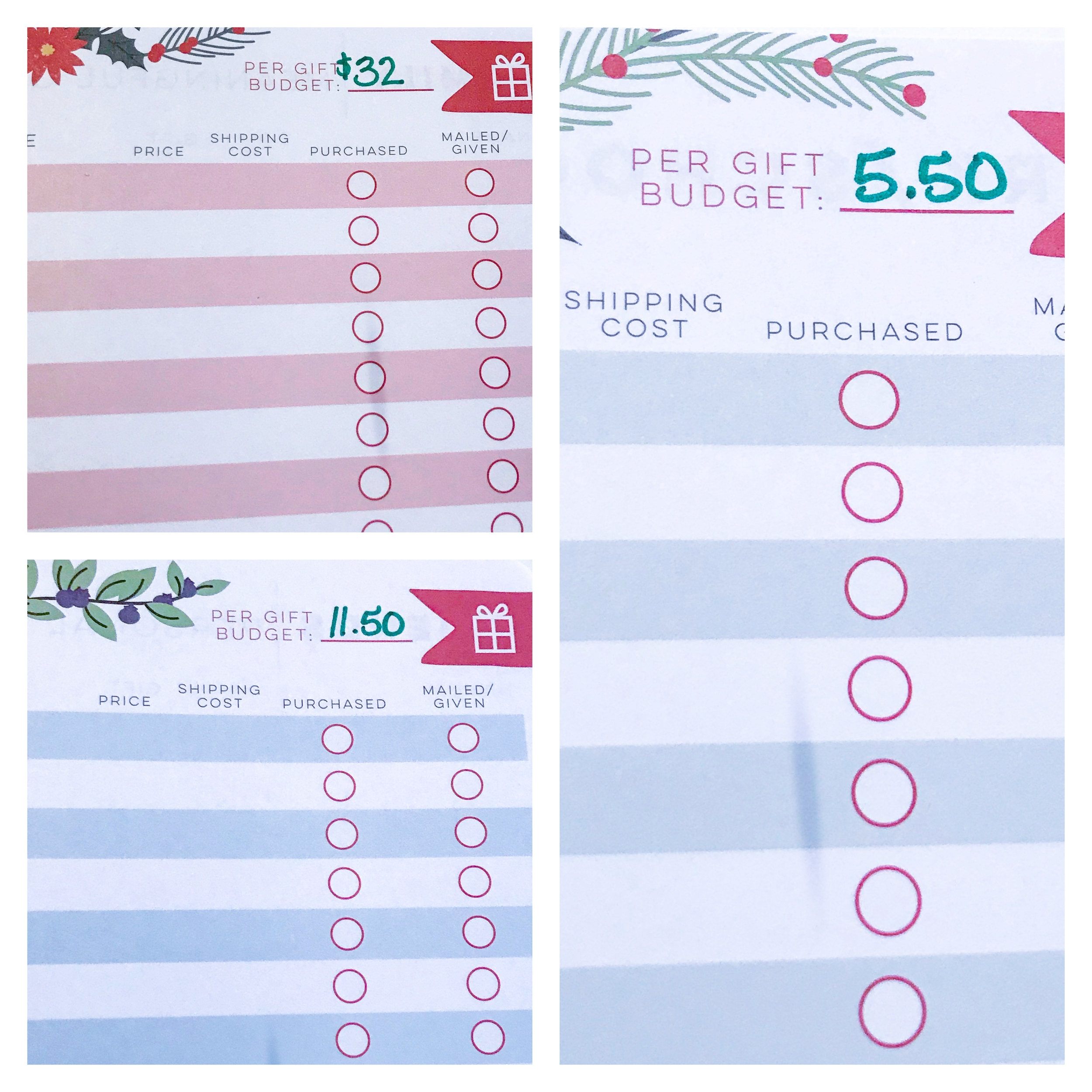 Write the per-gift budgets at the top of each page.