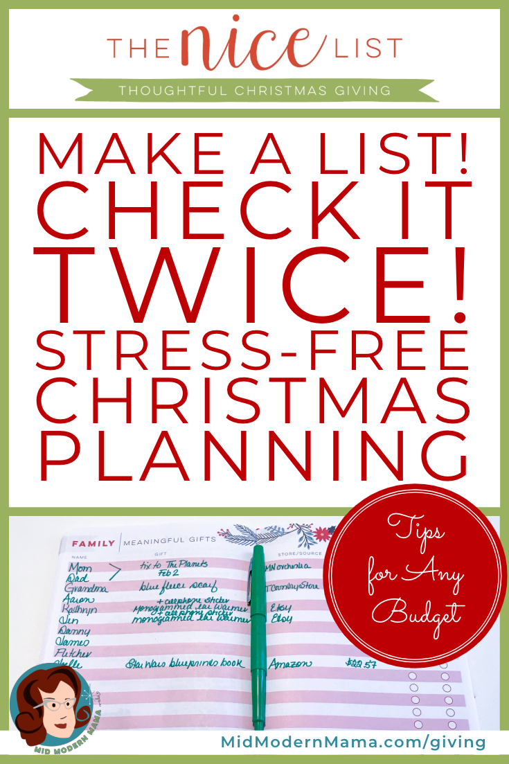 The Nice List is a Christmas organizer and planner that will help keep you on budget and on time all season long. With a budget planning tool, to do lists, calendars, and checklists as well as an easy method for shopping and gift giving, The Nice List helps moms, dads, grandparents, and families stay organized for the holiday season. Also: gifts for friends, inlaws, home, kids, teachers, stickers.