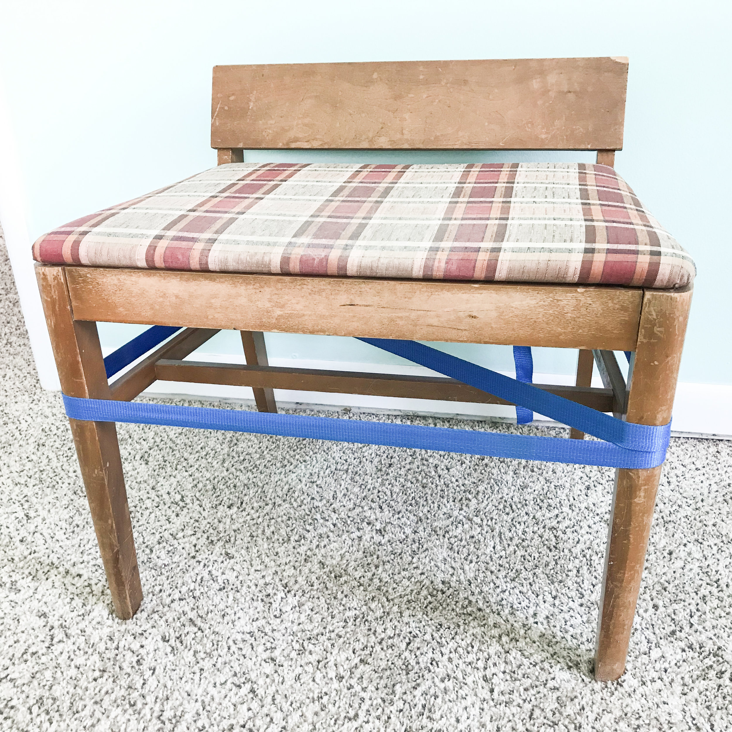 My $5 bench used to sit at my dressing table. Now it will find another home.
