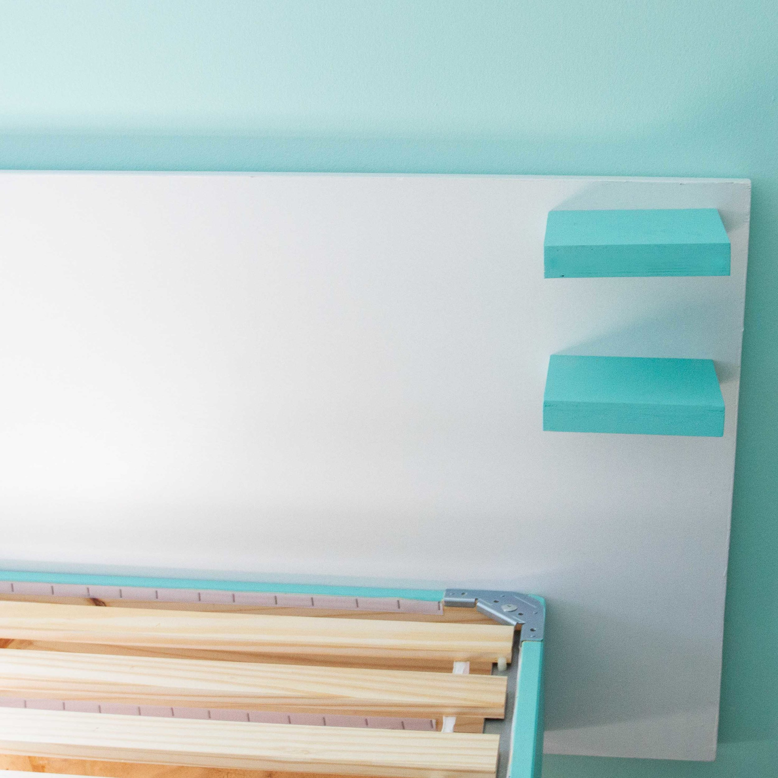 We installed small shelves on each end of the headboard — one set per bed.