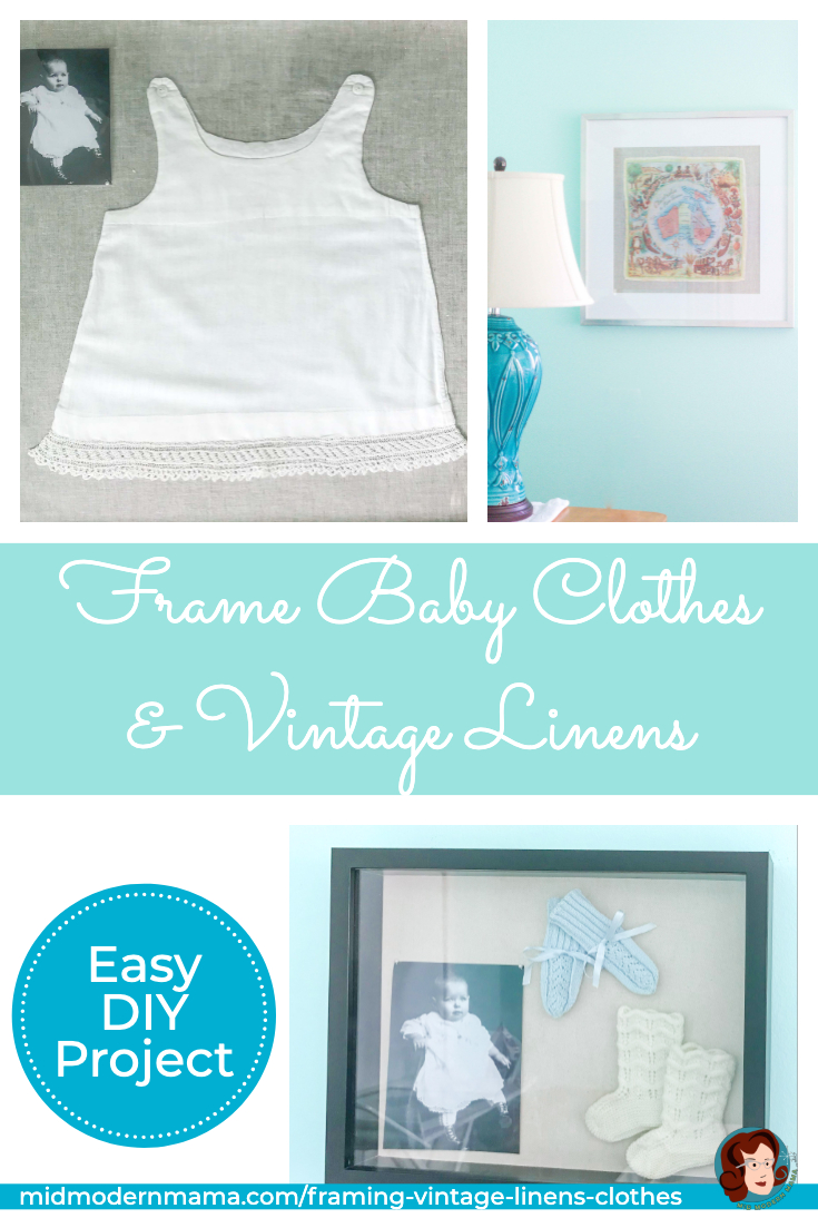 Step-by-step instructions for framing vintage and sentimental linens including christening gowns, baby dresses, baby bonnets, and vintage handkerchiefs. Using the simple DIY method, clothes, shoes, day gowns, and other baby clothes can be framed in shadow boxes or frames creating unique wall art for children. Makes a wonderful gift, too!