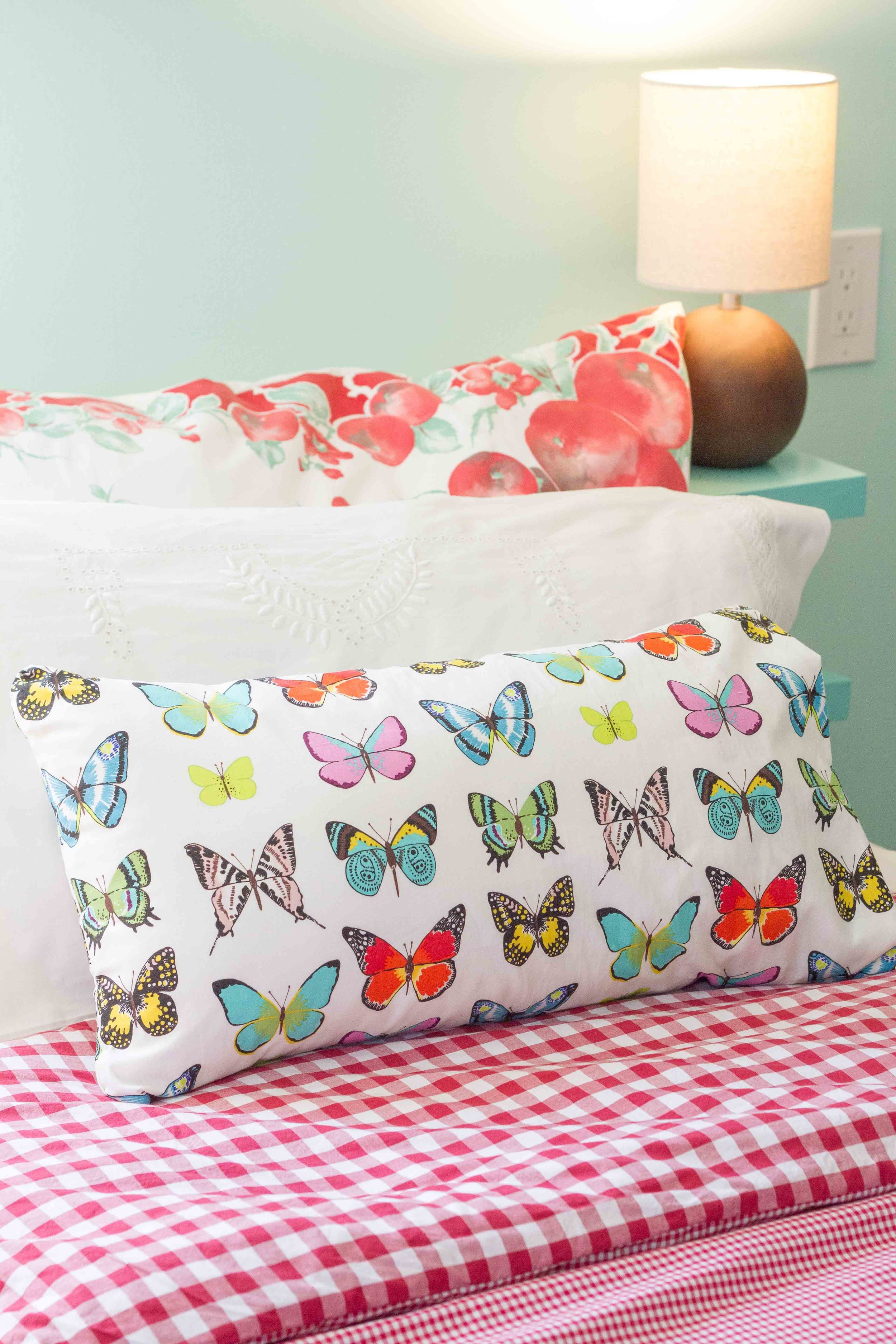 The butterfly pillows have a more tailored look.