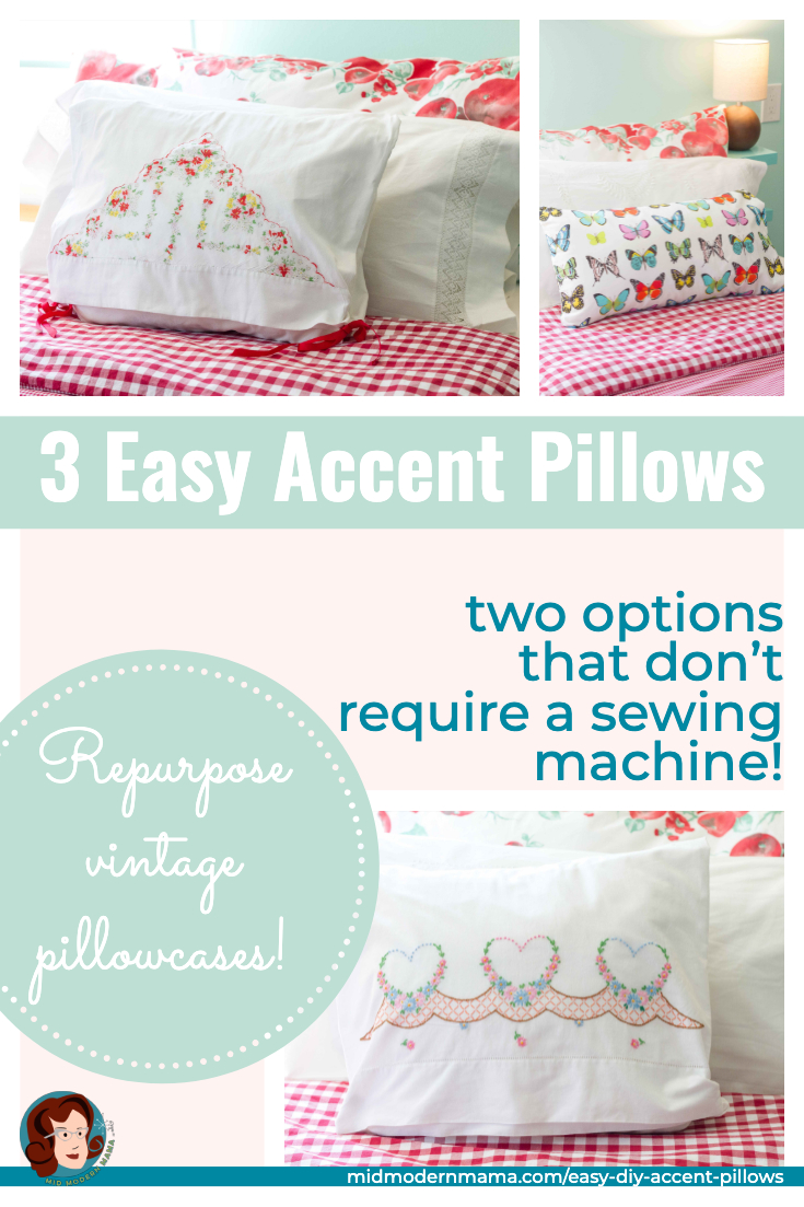 Repurpose vintage pillowcases into throw pillows with these simple how to instructions. Whether your pillowcases are embroidered, trimmed with lace, or appliqued, these DIY sewing projects create beautiful throw pillows perfect for the bedroom or other parts of your home. Also includes instructions for a simple, folded-end pillowcase for a more tailored look. Inspiration! Can be hand-sewn.