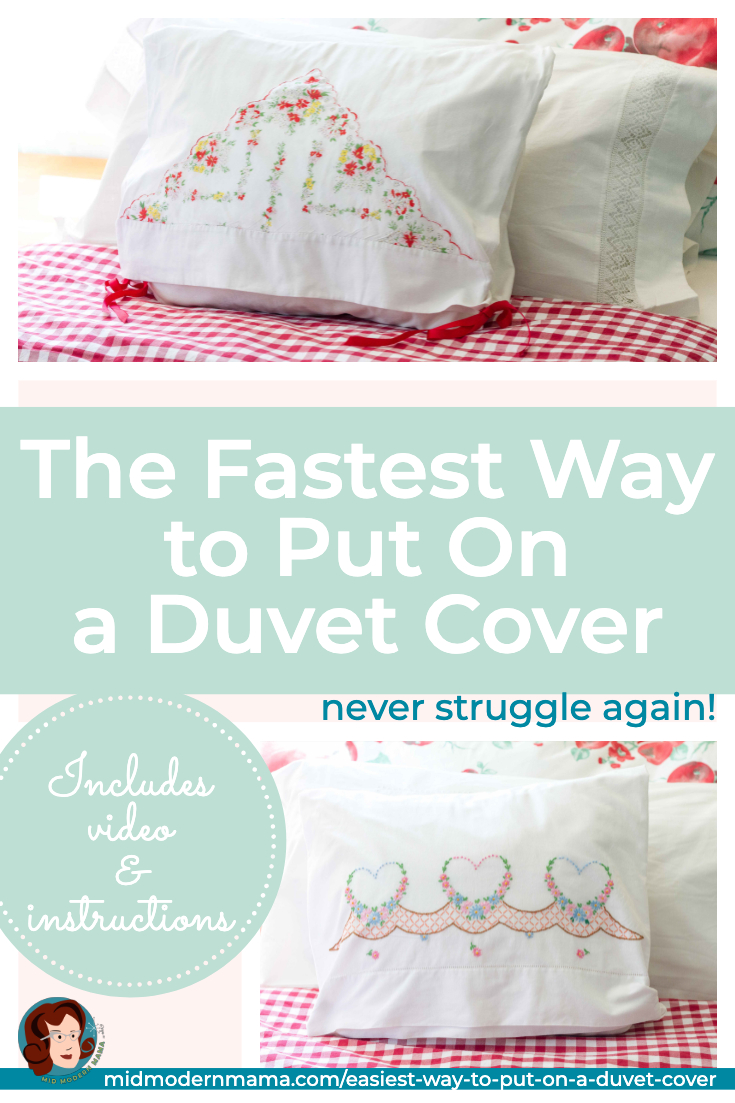 Putting a duvet cover on your duvet has never been this simple! Learn the easy trick that makes making the bed quick and painless. Includes a video as well as easy instructions. Works for any duvet or comforter cover in any room of the house.