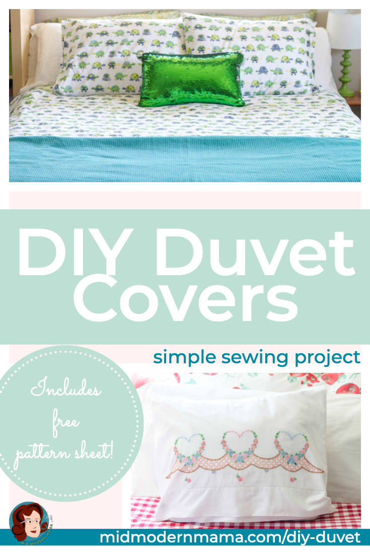 Create your own duvet covers using flat sheets. These simple DIY instructions offer an easy tutorial for twin, double, queen, and king size beds. This is a simple, beautiful project which can be adapted for any kind of decor and includes a free pattern.
