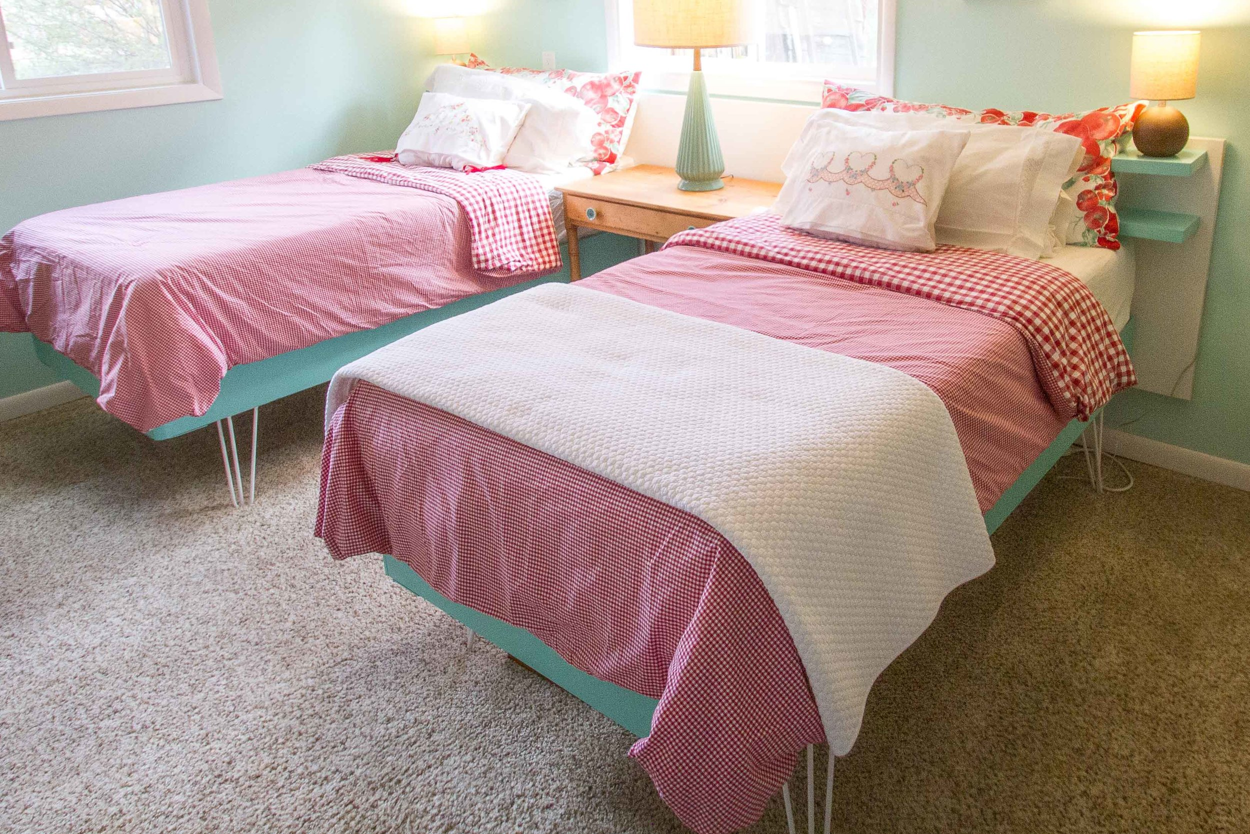 We have two twin beds in our guest room which provides comfortable sleeping arrangements for anyone.