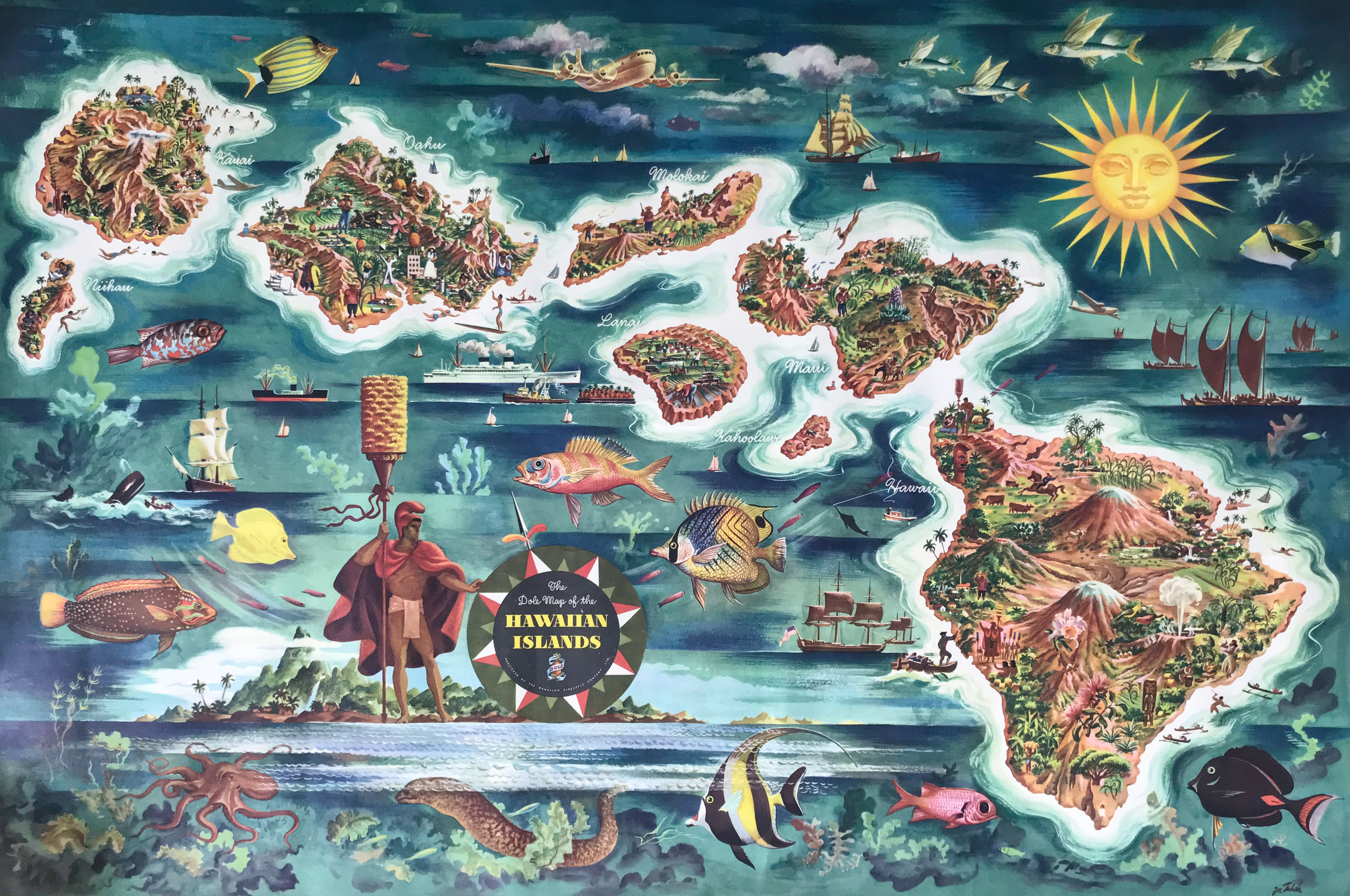 Map of Hawai'i created by Joseph Feher for United Airlines