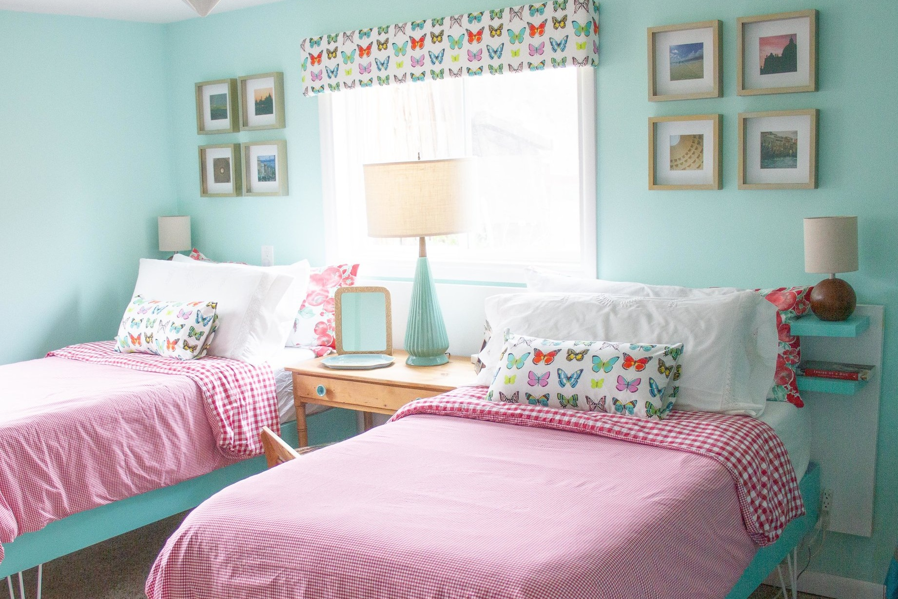 The headboard, created from two closet doors, cost just $10 total.