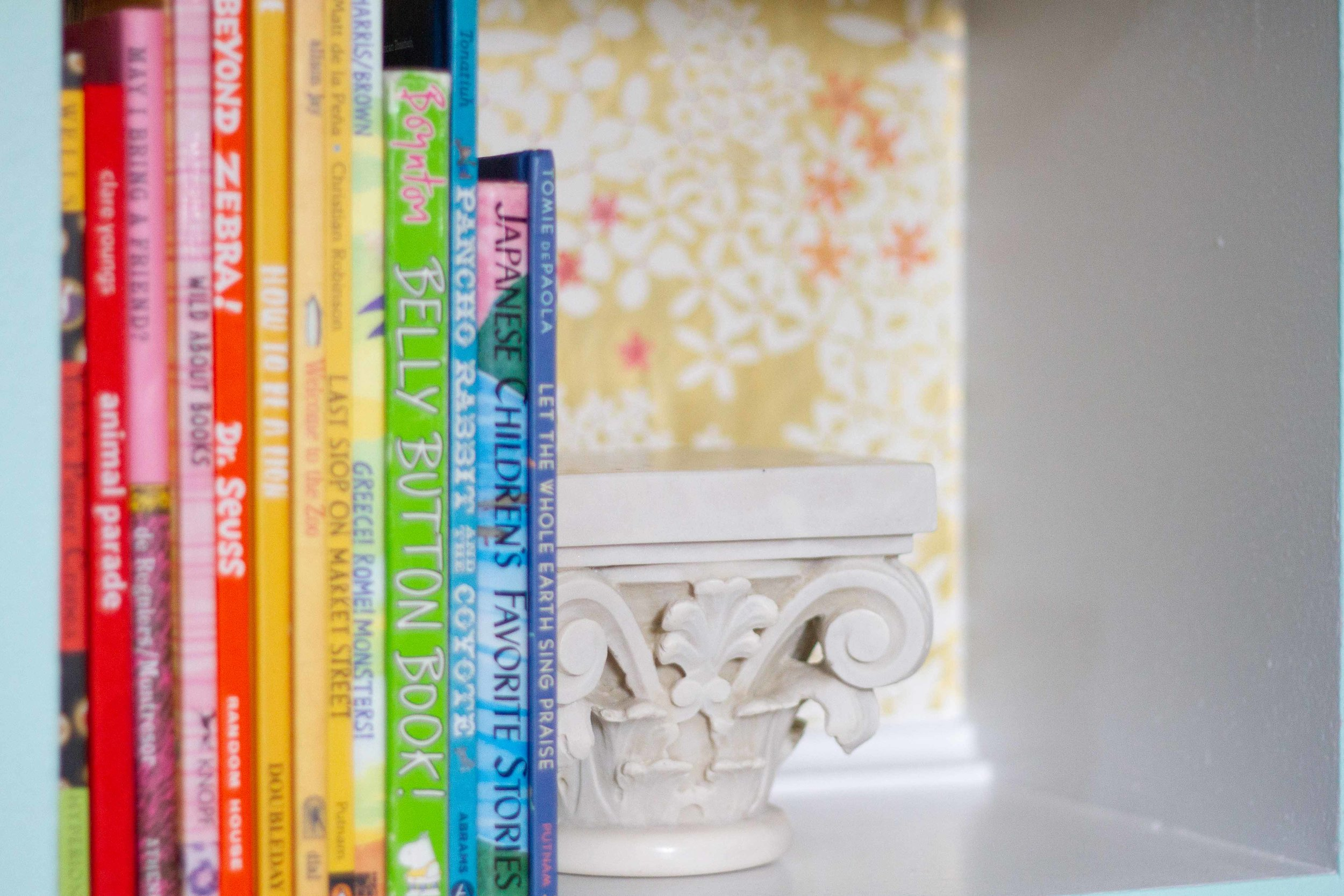 Books for our younger guests and a marble capital from Rome