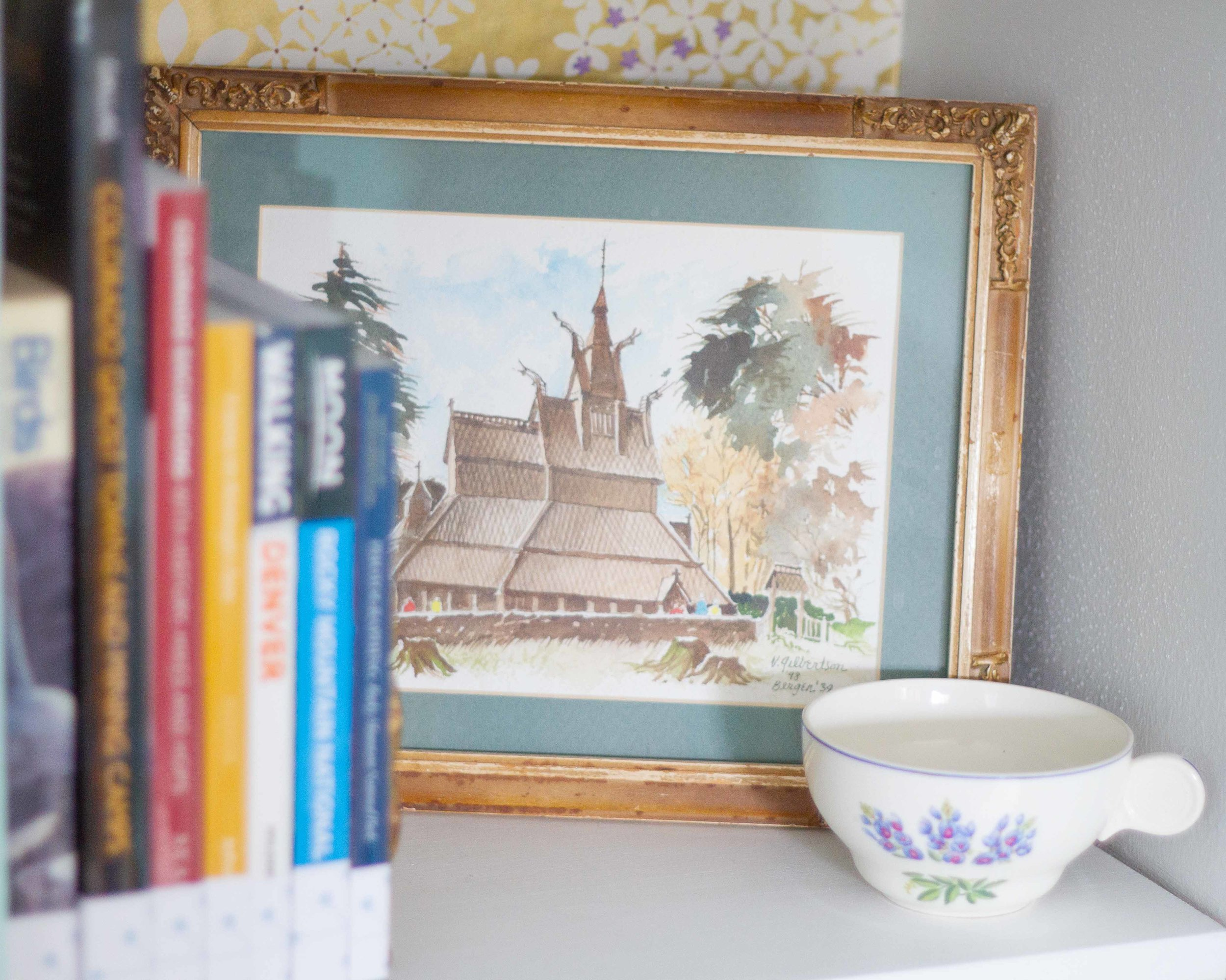 Minnesota artist, Victor Gilbertson, painted this watercolor as a wedding gift for us. The cup is vintage — a pattern commemorating the Texas Centennial Exposition in 1936.