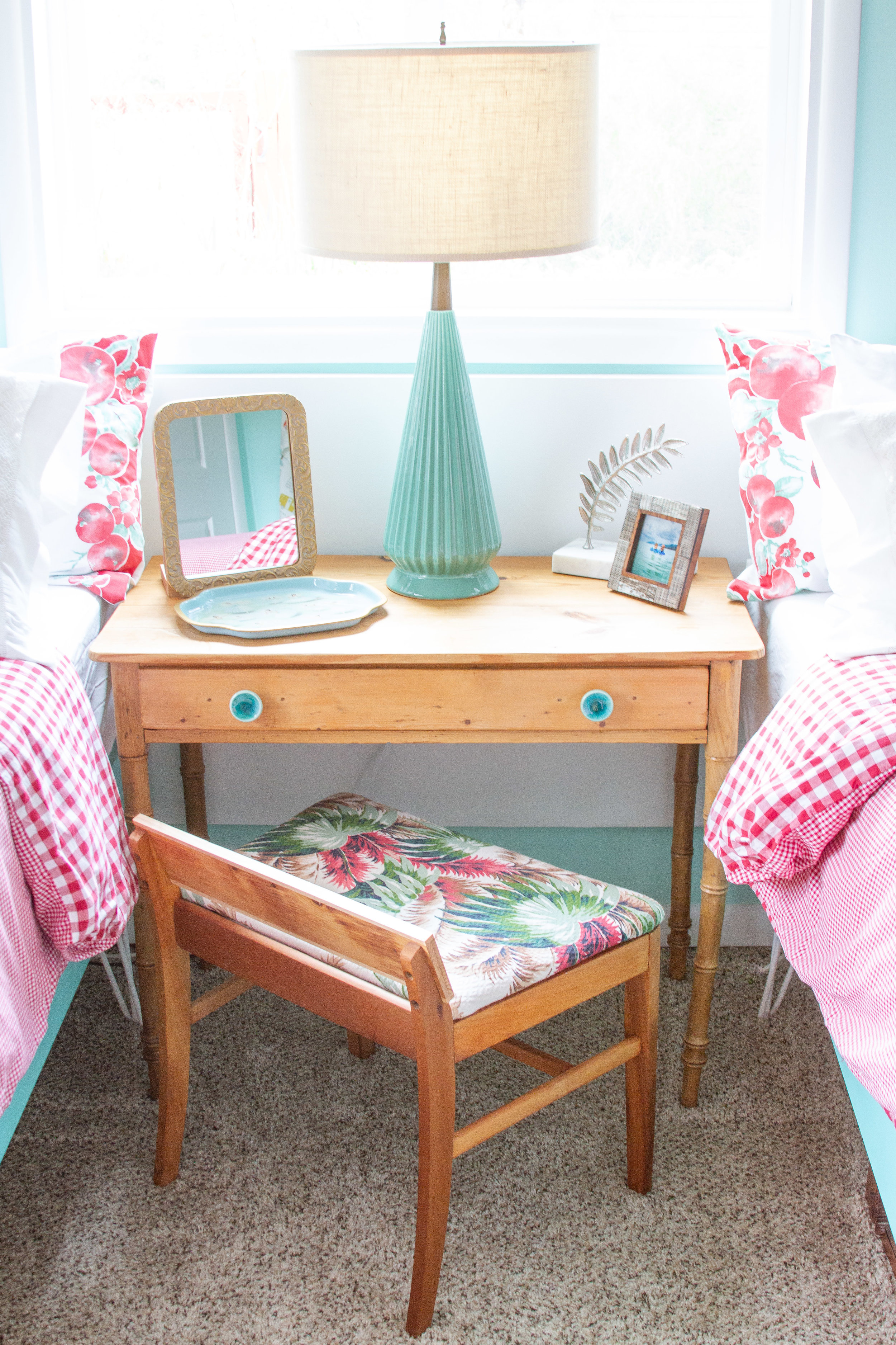 Vintage fabric from the 1950s gives this Mid Century dressing table stool a fresh look.